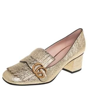حذاء كعب عالي غوتشي كعب عريض تفاصيل شراشيب مارمونت جي جي جلد فويل ذهبي ميتالك مقاس 39.5