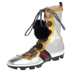 Gucci Metallic Silver/Gold Titan Gladiator Sneakers Size 38