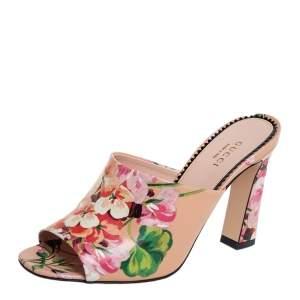 Gucci Beige Bloom Floral Print Leather Slide Sandals Size 37