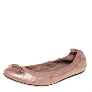 حذاء فلات باليه غوتشي مجعد فيونكة جلد غوتشيسيما بيج ميتالك مقاس 36.5