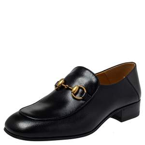 Gucci Black Leather Horsebit Quentin Slip On Loafers Size 38.5