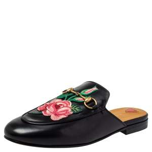 Gucci Black Floral Embroidered Leather Horsebit Princetown Flat Mule Size 38
