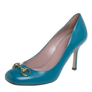 Gucci Blue Leather Horsebit Pumps Size 36.5