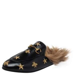 Gucci Black Leather, Fur Princetown Sandals Size 37.5