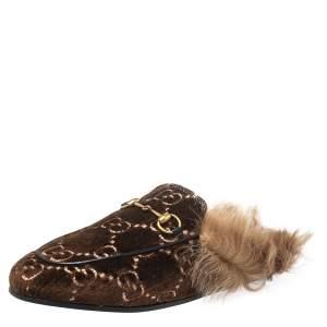 Gucci Brown Velvet, Fur Princetown Mule Sandals Size 39