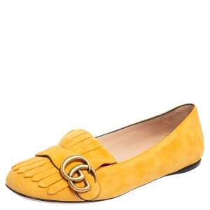 Gucci Yellow Suede GG Marmont Fringe Detail Ballet Flats Size 37