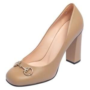 Gucci Beige Leather Horsebit  Block Heel Pumps Size 39