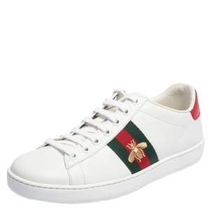 Gucci White Leather Ace Low Top Sneakers Size 37