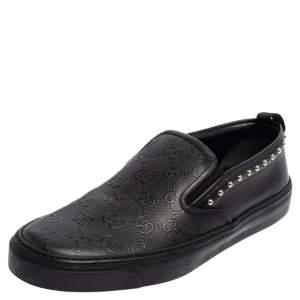 Gucci Black Guccissima Leather Slip On Sneakers Size 38.5