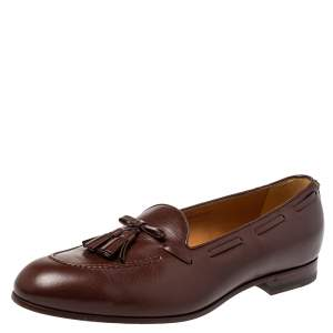 Gucci Brown Leather Tassel Loafers Size 45