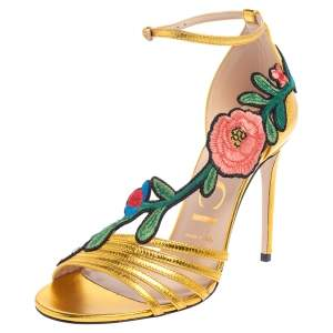 Gucci Gold Leather Ophelia Flower Embroidered Strappy Sandals Size 37