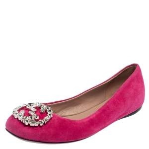 Gucci Pink Suede Crystal GG Ballet Flats Size 36.5
