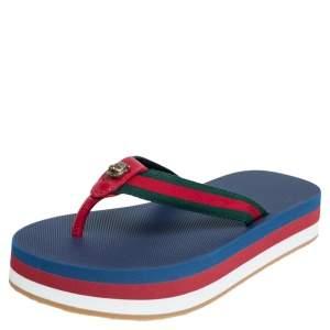Gucci Web Striped Canvas Platform Flip Flop Sandals Size 35