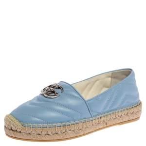 Gucci Blue Matelassé Leather GG Marmont Espadrille Flats Size 36.5