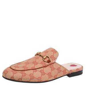 Gucci Brown GG Canvas Princetown Mules Size 37