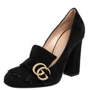 حذاء كعب عالي غوتشي مارمونت GG سويدي أسود مقاس 37.5