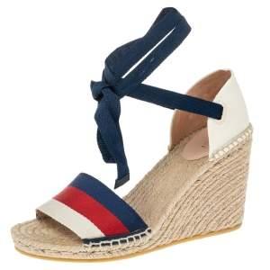Gucci Multicolor Canvas Web Espadrille Wedge Ankle Wrap Sandals Size 38.5