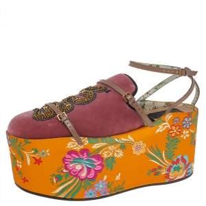 Gucci  Pink/Yellow Velvet And Jacquard Embellished Platform Sandals Size 40
