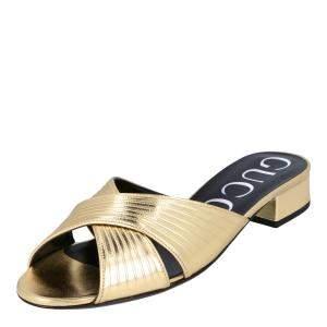 Gucci Gold Metallic Leather Slides EU 35