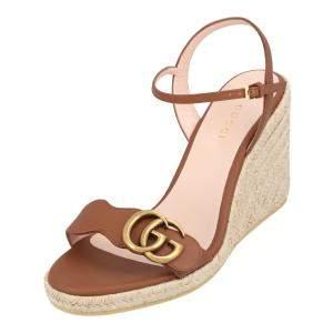 Gucci Beige Leather Platform Espadrille Sandals Size EU 35