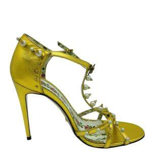 Gucci Gold Leather Pearl Trim Sandals Size 40 (UK 7)