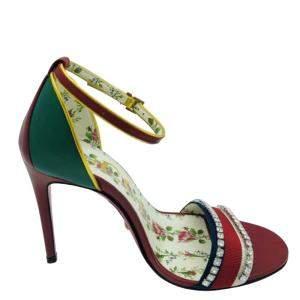 Gucci Multicolor Leather/Fabric Web Heel Sandal Size 35.5 (UK 2.5)