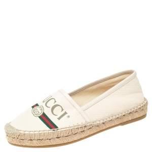 Gucci Cream Canvas Logo Espadrille Flats Size 35