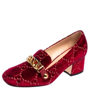 Gucci Red GG Velvet Sylvie Pumps Size 36.5
