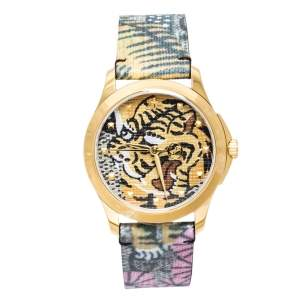 Gucci Tiger Print Gold Tone Stainless Steel Le Marche Des Merveilles YA1264008 Women's Wristwatch 38 mm
