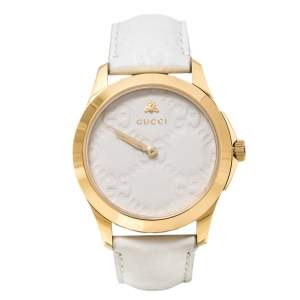 ساعة يد نسائية غوتشي جي تايملس 126.4 جلد ستانلس ستيل مطلي بي في دي ذهب أصفر بيضاء 38 مم