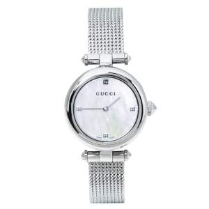 Gucci Mother Of Pearl Stainless Steel Diamantissima YA141504 Women's Wristwatch 27 mm
