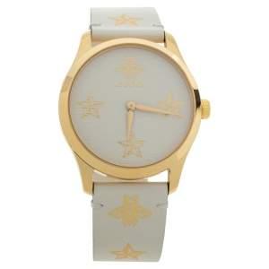 ساعة يد نسائية غوتشي جي تايمليس ستانلس ستيل YA1264096 وذهب أصفر عيار 18 كريمي 38 مم