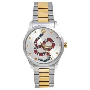 Gucci Silver Snake Two Tone Stainless Steel G-Timeless YA1264075 Men's Wristwatch 38 mm
