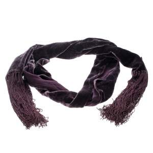 Gucci Purple Velvet and Satin Guccissima Pattern Tassel Detail Stole