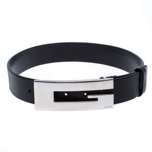 Gucci Black Leather G Belt Size 65cm