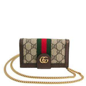Gucci Brown GG Canvas And Webbing Phone 7 Flip Case