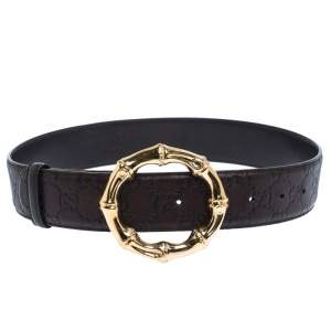 Gucci Brown Guccissima Leather Bamboo Ring Belt 70CM