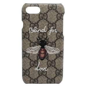 Gucci Beige GG Supreme Canvas Blind For Love iPhone 7 Case