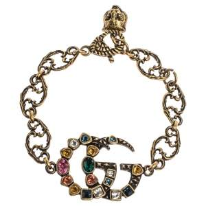 Gucci Double G Multicolor Crystal Gold Tone Bracelet