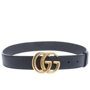Gucci Navy Blue Leather GG Logo Buckle Belt 80CM