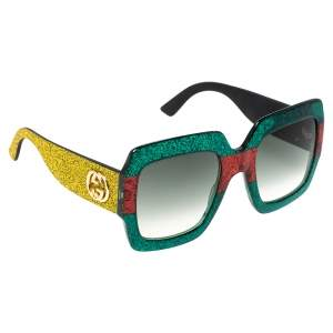 Gucci Multicolor Gradient GG0102S Pop Glitter Iconic Oversize Square Sunglasses