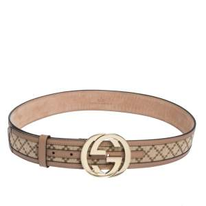 Gucci Beige Diamante Canvas and Leather Interlocking G Buckle Belt 85CM