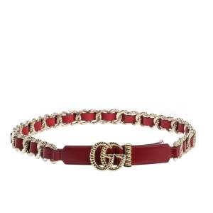 Gucci Red Leather Torchon Chain GG Buckle Belt 90CM