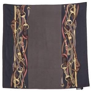 Gucci Vintage Brown & Gold Equestrian Print Silk Scarf
