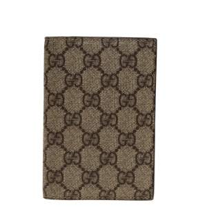 Gucci Beige GG Supreme Canvas Passport Holder