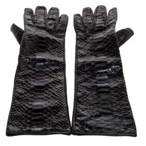 Gucci Black Python and Leather Gloves Size 8