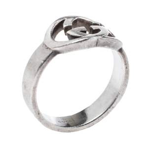 Gucci Sterling Silver Interlocking GG Ring Size EU 55