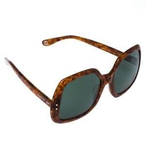 Gucci Honey Havana/ Green GG0625S Oversized Square Sunglasses