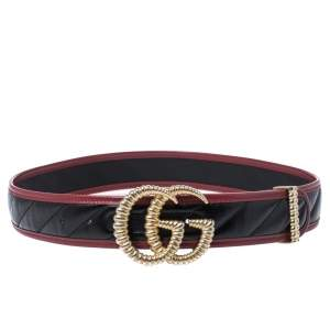 Gucci Black/Red Leather Torchon Double G Buckle Belt 85CM
