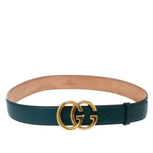 Gucci Dark Teal Leather Double G Buckle Belt 95CM